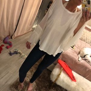 Free People white flowy blouse with mesh sleeves